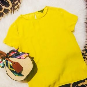 Forever 21 Lime Green Crepe Blouse, Size S ✨